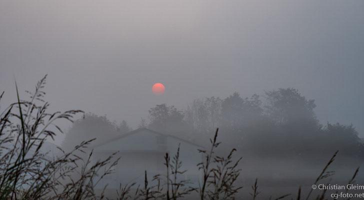 Erste Übernachtung in Italien auf der Anreise bei Piacenca am Po: Morgens vor kurz nach Sonnenaufgang
