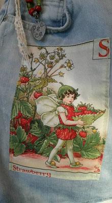 """Seelentäschchen mit Applikation Strawberry"""" Motiv von Cicely Mary Baker, Stoff Miller fabric"""