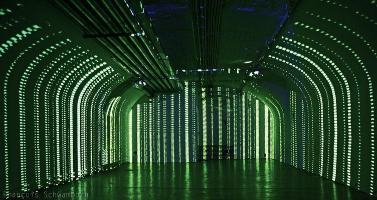 Raumstudien, Audioreaktive Rauminstallation, Saarbrücken 2014 Foto: François Schwamborn