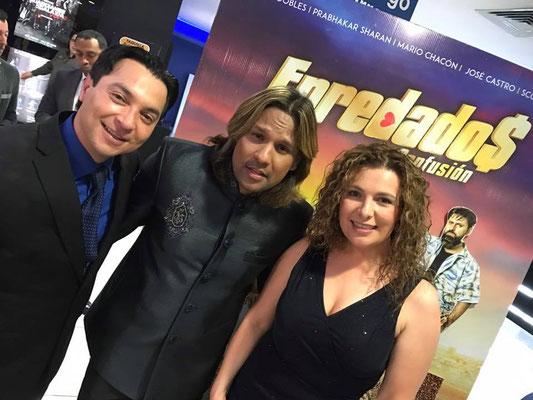 Christian Solís- Sharan -Cynthia Alvarado en estreno de Enredados la Confusión
