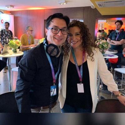 Christian Solís y Cynthia Alvarado  de Cántico Producciones en Ventana Sur Argentina