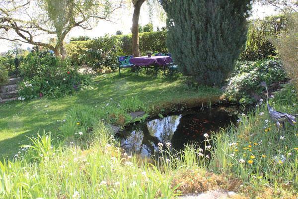 Gartenteich mit Sitzgelegenheit unter einer Birke