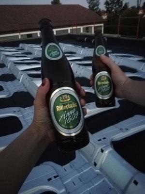 Baustellen Bier am Dach