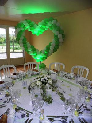 Coeur en ballons vert pomme