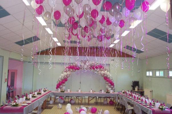 Arches et plafond hélium en ballons