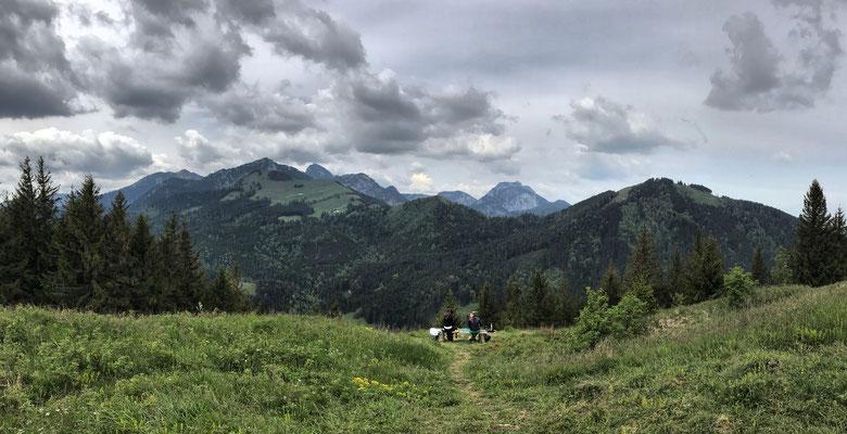 Aussicht vom Sulzberg nach Südwesten auf Raboldplatte, Mitterberg und Farrenpoint