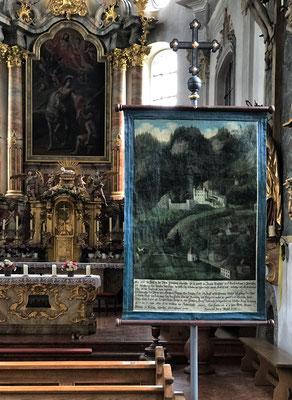 Rochusfahne (Pestfahne) in der Kirche St. Martin Flintsbach