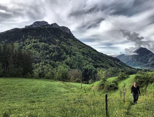 Aufstieg zum Sattelberg mit dem Heuberg im Hintergrund