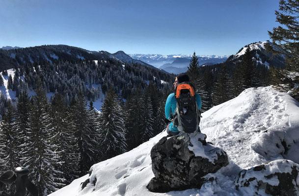 Ausblick vom Riesenberg mit Schneeschuhen