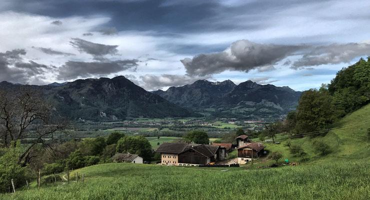 Blick von Obersulzberg zurück nach Nußdorf