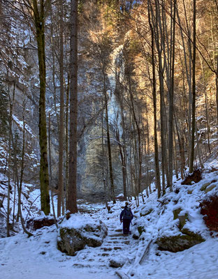 Aufstieg zum Schoßrinn-Wasserfall