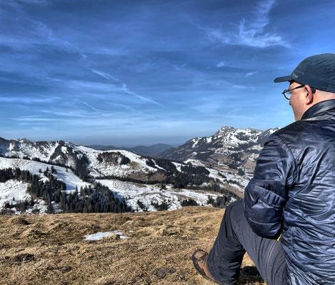 Am Gipfel der Brünnsteinschanze
