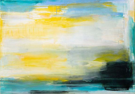 Uschi Lüdemann, Beneath the waves, 2019, Acryl Pigmente Leinwand, 70x100 cm