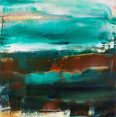 Uschi Lüdemann, Dark night, 2018, Acryl Pigmente Holz, 60x60 cm
