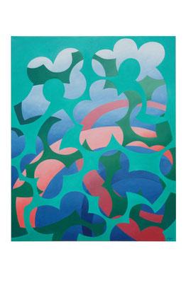 Barbara Jäger,  Malerei, Türkis, 2017, 100 x 80 cm