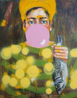 Gloria Keller, Fischweiber 2, Malerei