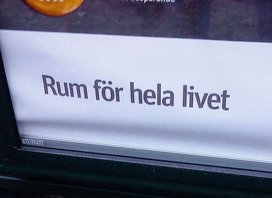 Swedish ad at a bus stop