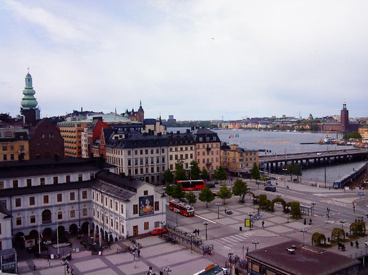 view  over Slussen from Katarinahissen
