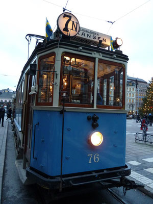 old tram on its way to Skansen