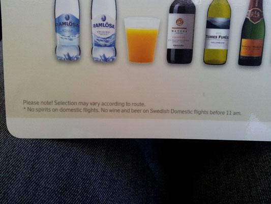 On a Norwegian flight no alc before 11 am