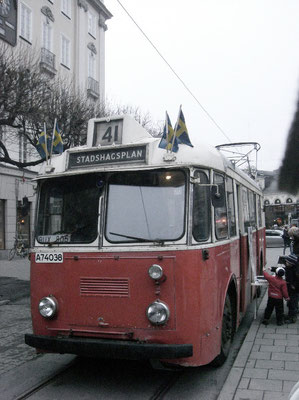 very old bus at Norrmalmstorg