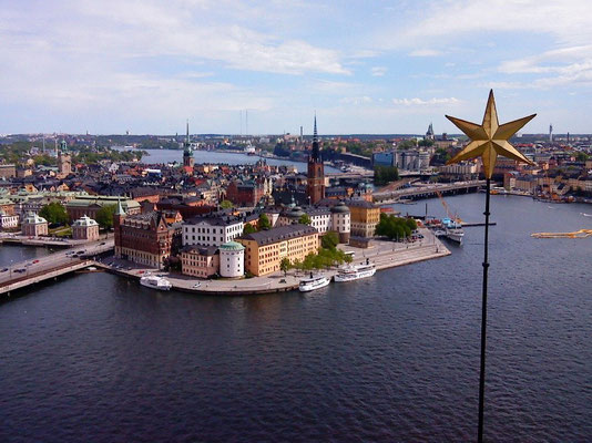 view over Riddarholmen and Gamla stan from the tower of Stadshuset