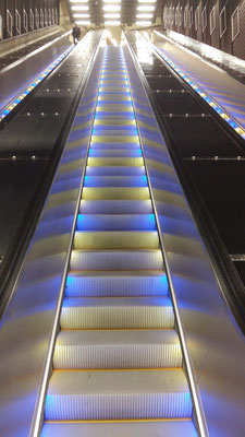 The new escalators are colourful