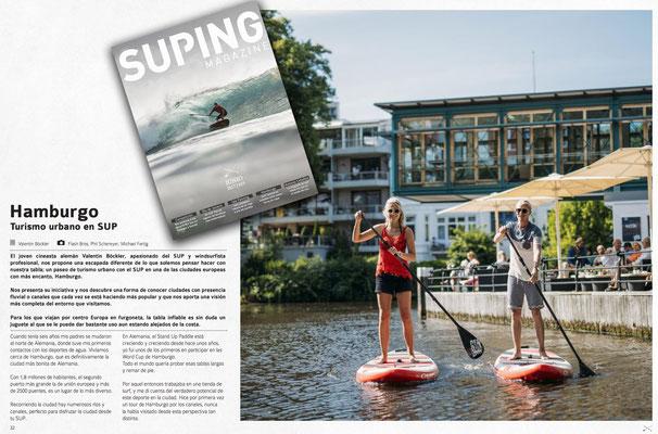 SUPING Magazine, SUP durch Hamburg, Print/Online, July 2017