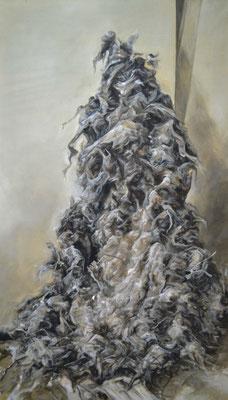 la poussière s'amoncelle sur la poussière amoncelée - jan21 - huile sur toile, 70x120cm