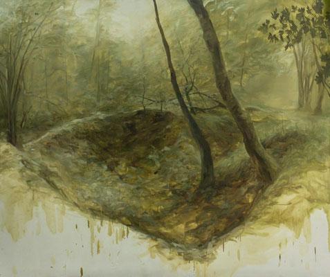 REPLI - N 48° 53' 44,3'' / E 005° 25' 16,5'' / NO - mai14 - huile sur toile, 220 x 190 cm