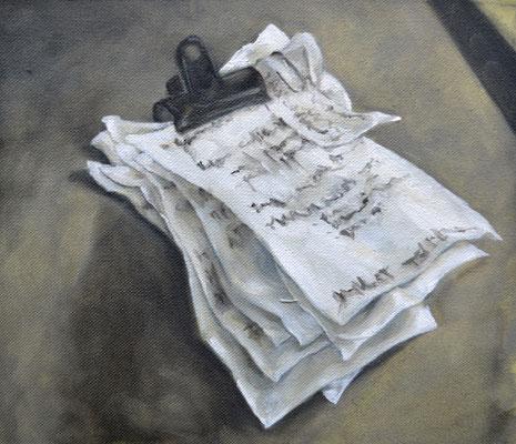 dès demain, les to do list - jan21 - huile marouflée sur toile, 24x21cm