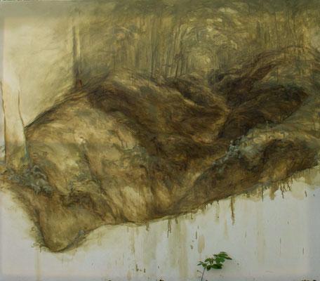 REPLI - N 48° 54' 51,9'' / E 005° 24' 51,1'' / S - juin14 - huile sur toile, 220 x 190 cm