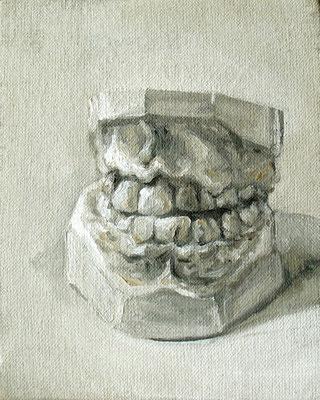 le sourire de - aout11 - huile sur toile marouflée, 12x15cm