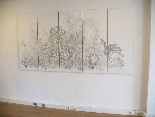 semblant de sauvage - fév/mai12 - encre de chine, papier marouflé sur bois, 260x130cm