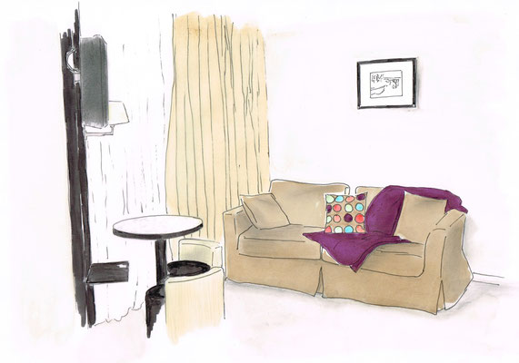 Esquisse de présentation du salon de la grande suite d'un hôtel 4 étoiles -Bayonne 64-