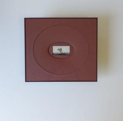 Paysage à l'aquarelle anonyme - Biseau romantique ovale rouge-brun avec fermeture papier lie de vin - Verre anti-reflet.