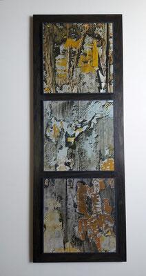 Triptyque photographique - trois sous-verre papier montés sur une latte en chêne teinté gris fumée.