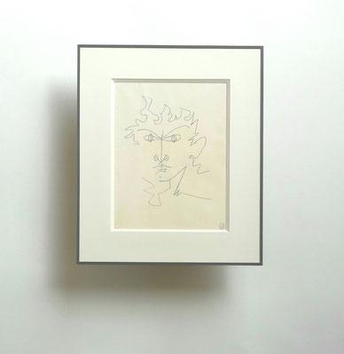 Dessin à la mine de plomb de J. Cocteau - Passe-partout biseau et sous-verre papier.