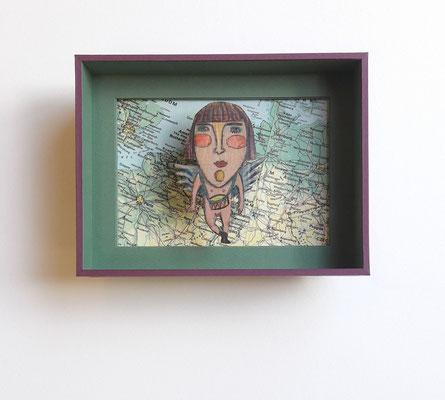 Ange sur carte - Boîte sous-verre papier.