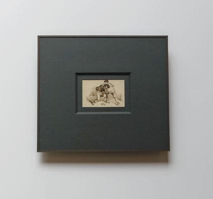 Lavis brou de noix - Passe-partout biseau avec sous-carte finition sous-verre papier.