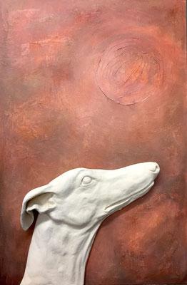 """""""Moonstruck Galgo"""", 62 x 42 x 7 cm, 2018"""