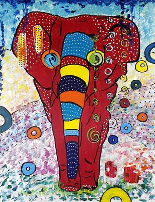 Elefant, Acryl auf Leinwand
