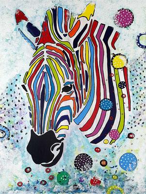 Zebra, Acryl auf Leinwand