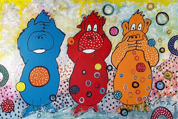Die drei Affen, Acryl auf Leinwand