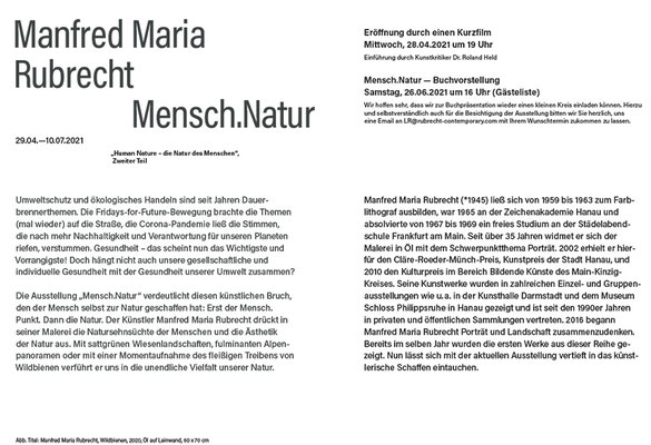 Einladungskarte Manfred Maria Rubrecht MENSCH.NATUR, Galerie Rubrecht Contemporary