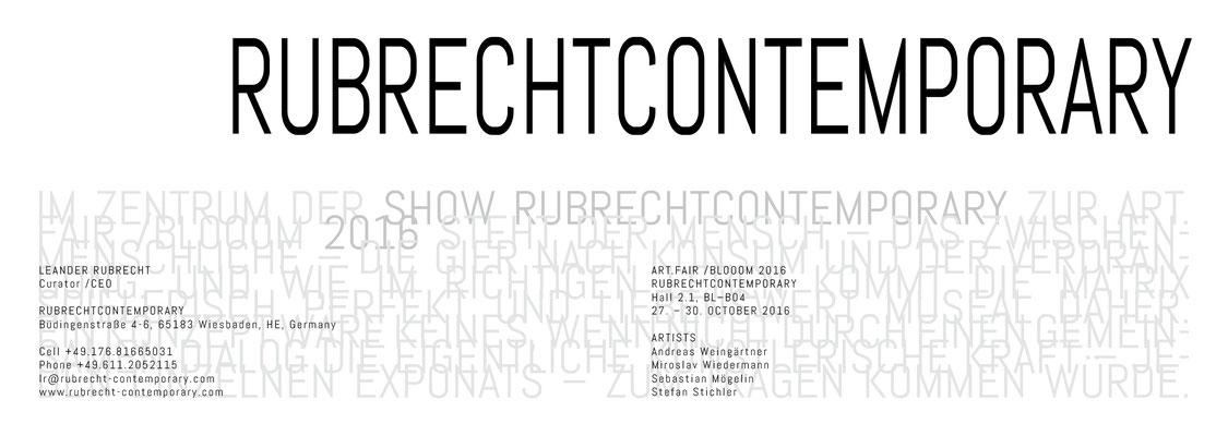 Klappkarte zu RUBRECHTCONTEMPORARY auf der Art.Fair + Blooom 2016, Köln
