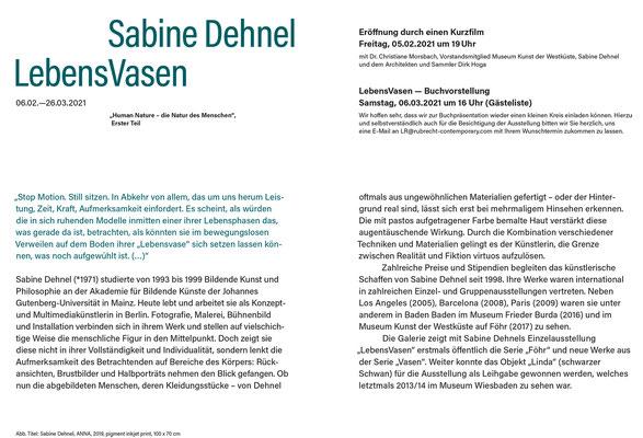 Innenseite Klappkarte zur Ausstellung Sabine Dehnel – LebensVasen