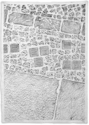 2018, Toleranzgasse, Graphit auf Musselin, 119x84cm