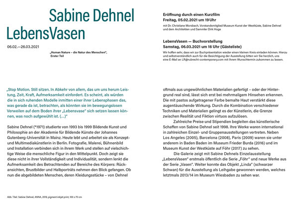 Ausstellungsinformationen zur Ausstellung LEBENSVASEN, Galerie Rubrecht Contemporary, Wiesbaden