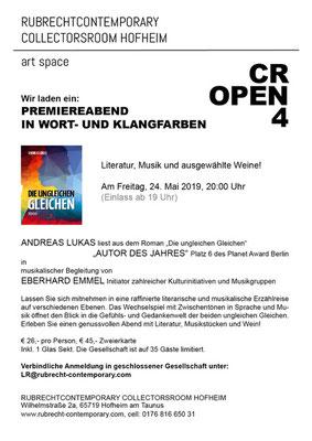 Wir laden ein: Premiereabend in Wort- und Klangfarben MIT ANDREAS LUKAS  und EBERHARD EMMEL